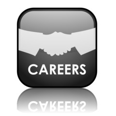 "Square vector ""CAREERS"" button with reflection (black)"