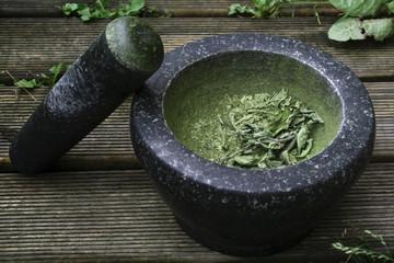 Stevia im Mörser