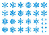 30 Vector Snowflakes Set - 16464740