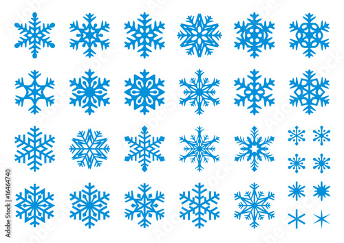 30 Vector Snowflakes Set - 16464740