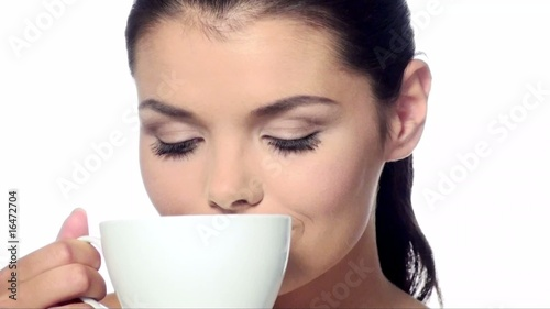 ortrait of beautiful woman with cup of coffee