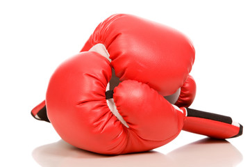 closeup photo of the red boxing gloves