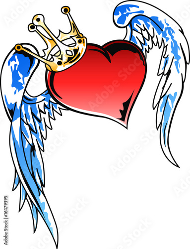 flying heart with crown tribal art