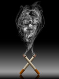 Skull in double cigarette's smoke representing death