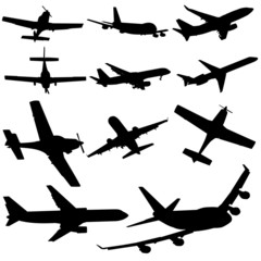 assorted plane silhouettes