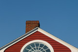 New England rooftop with red shingles poster