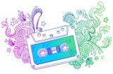 Hand drawn audio cassette with line art doodle decor poster