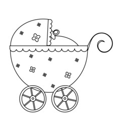 Vector illustration of a blue baby buggy, lineart.