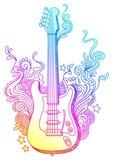 Line-art doodle guitar poster