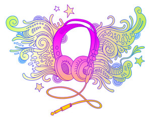 Hand drawn headphones with doodle decor