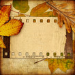 retro background with frame and autumn leaves