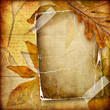 vintage autumn composition with old paper frame