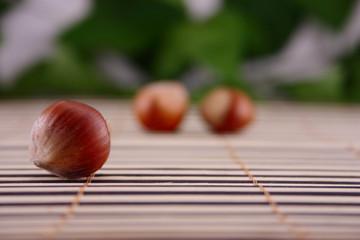 Wood nut on a wooden napkin