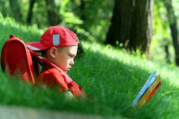 The boy reads the textbook sitting on a grass