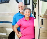Happy Retired Couple with RV poster