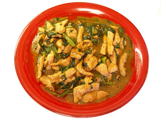 Pork & water spinach braise in satay