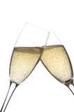 Two glasses champagne on white