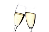 Two glasses champagne on white close up