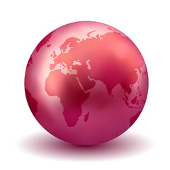 Glossy Red Earth Globe