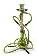 green Hookah on the white background. (isolated)