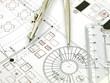Leinwanddruck Bild - architektenplan