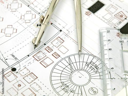 Leinwanddruck Bild architektenplan