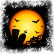 vector illustration on a Halloween theme with pumpkins