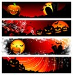 four vector banner on a Halloween theme