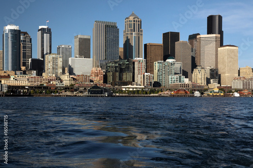Seattle Washington city view from ocean with buildings