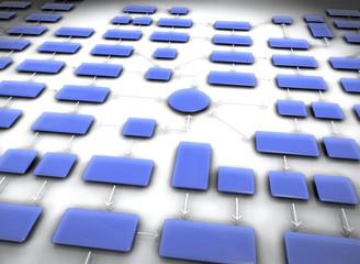 Diagramme réseau bleu fond blanc