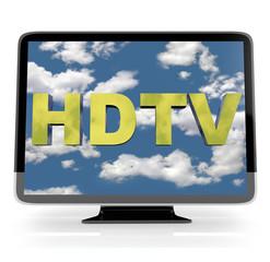 HDTV Flatscreen Display on White