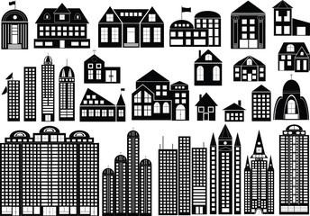 Set of symbols of buildings