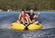 Fun tubing on a lake