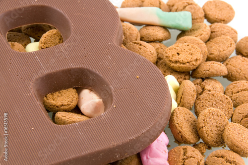 Chocolate letter with dutch pepernoten