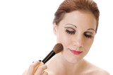 Pale Beauty with Makeup Brush poster