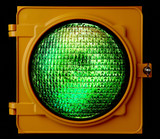 Illuminated green traffic light