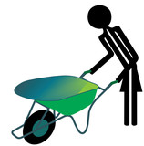 woman with wheelbarrow