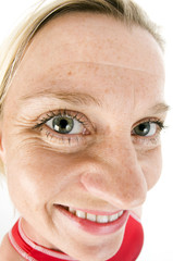 humorous distorted large nose middle age female triathlete