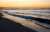 baltic sea coast in beautiful twilight after sunset poster