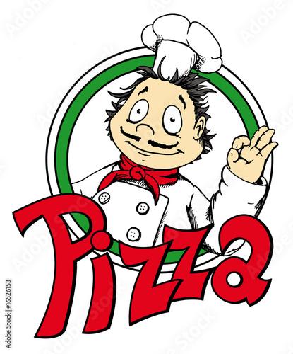 Vector: Pizza, Logo, Pizzamann, italienisch, Koch