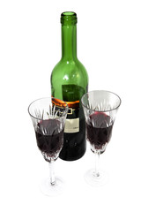 bottle wine with wine glasses