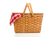 Wicker Picnic Basket with Gingham Cloth - 16533598