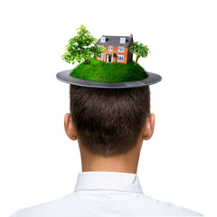 man with hat made of green planet