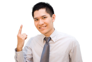 Asian male pointing upwards at something