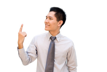 Asian businessman pointing upwards