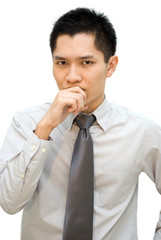 Asian business man worry thinking