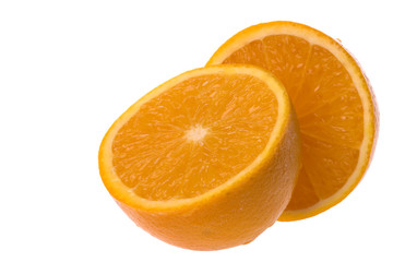 Sliced Orange Macro Isolated