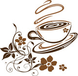 Kaffee, Cafe, Kaffeetasse, Blumen, floral - 16542523
