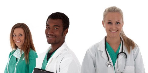 multiracial young medical team