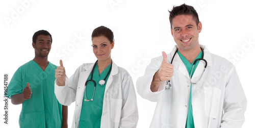multiracial young medical team with thumbs up